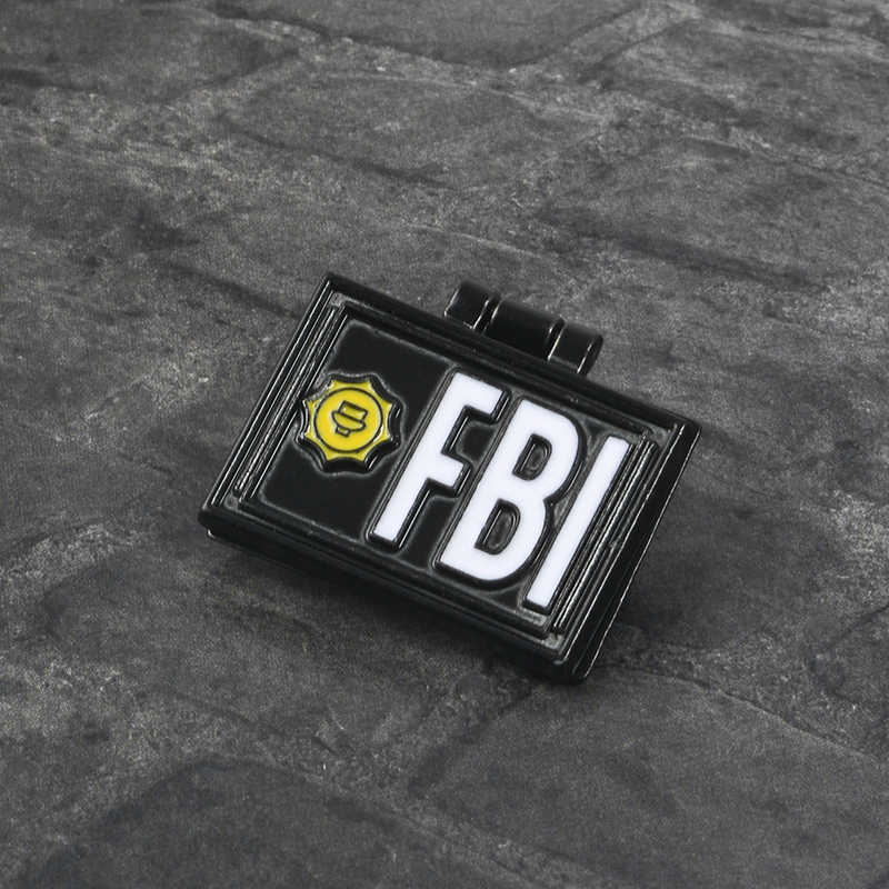 THE SIMPSONS Pin X-File FBI Fox Mulder ID Kartu Bros Enamel Kerah Pin Lencana X-File perhiasan Bros Pin