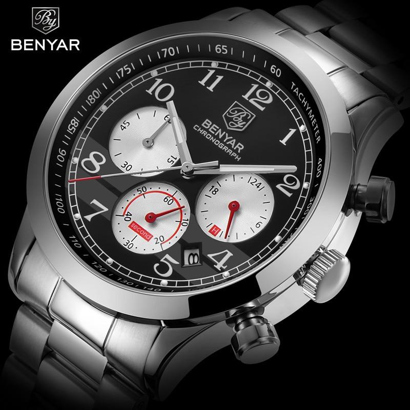 BENYAR New Business Stainless Steel Waterproof Chronograph Watches Quartz Military Men's Watch Male Wristwatch Relogio Masculino