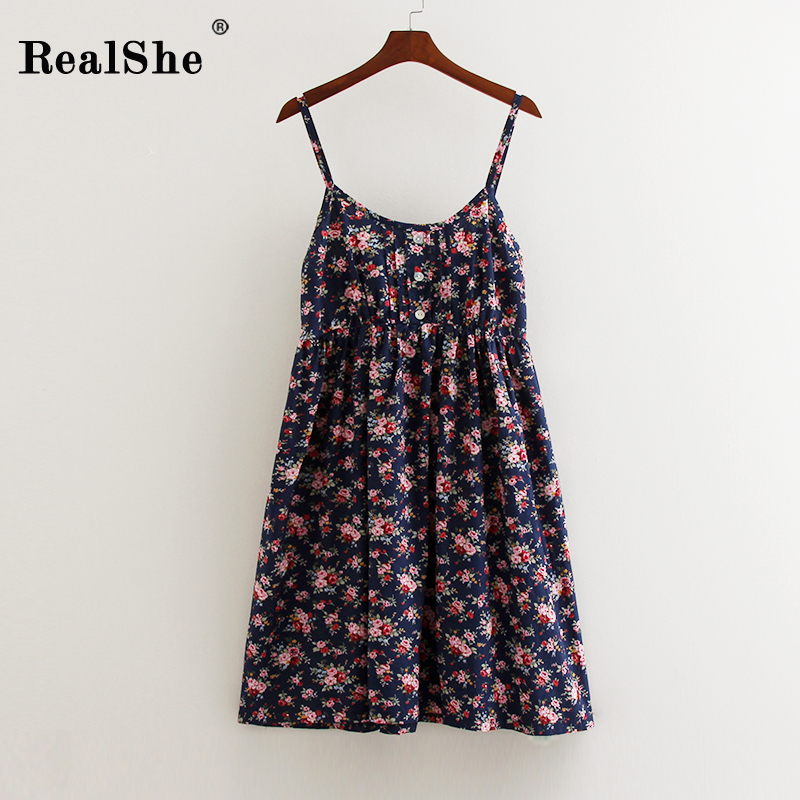 RealShe 2018Women Höst Vinter Dress Mode Kvinna Floral Print Beach Mini Spaghetti Strap Dress Kvinna Sexy Boho Dress Vestidos
