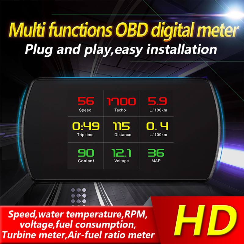 BigBigRoad Car HUD OBDII 2 Windscreen Projector Head Up Display For Subaru Forester Legacy Outback BRZ WRX STI Overspeed Warning