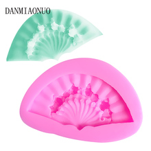 DANMIAONUO Lovely Fan Shape Cake Decorating Moulds Eco-friendly New Chocolate Mold Folding Silicone Fondant Tools A20118