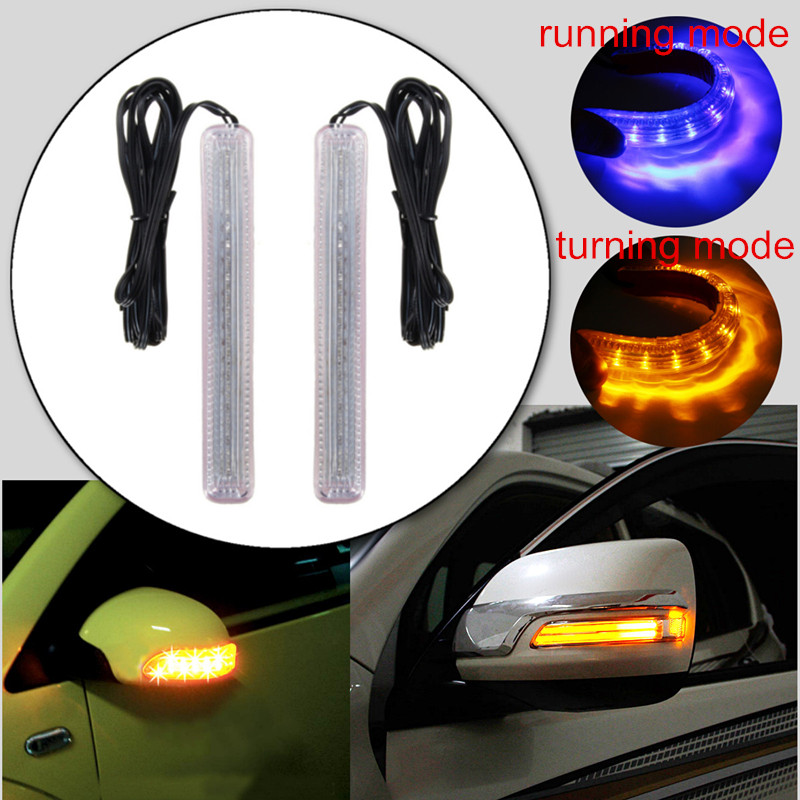 2pcs LED Car Auto Vehicle Universal Amber/Blue 18 SMD Rearview Side Mirror Turn Signal Light Car-styling 12V Waterproof