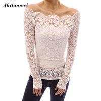 Female Blusa Retro Spring Autumn Lace Embroidered Crochet Patchwork Hollow Off Shoulder Long Sleeve Top Feminine