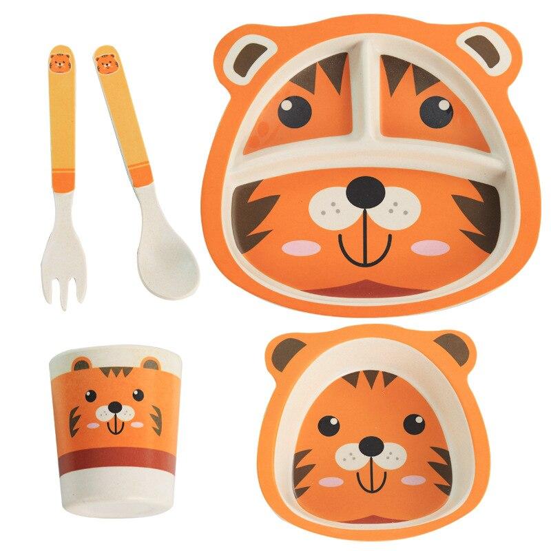 5 Pcs/Set Cute Cartoon Children Tableware Baby Dishes Bamboo Fiber Dinnerware Set Boys Girls Feeding Bowl Dishes Spoon Practice