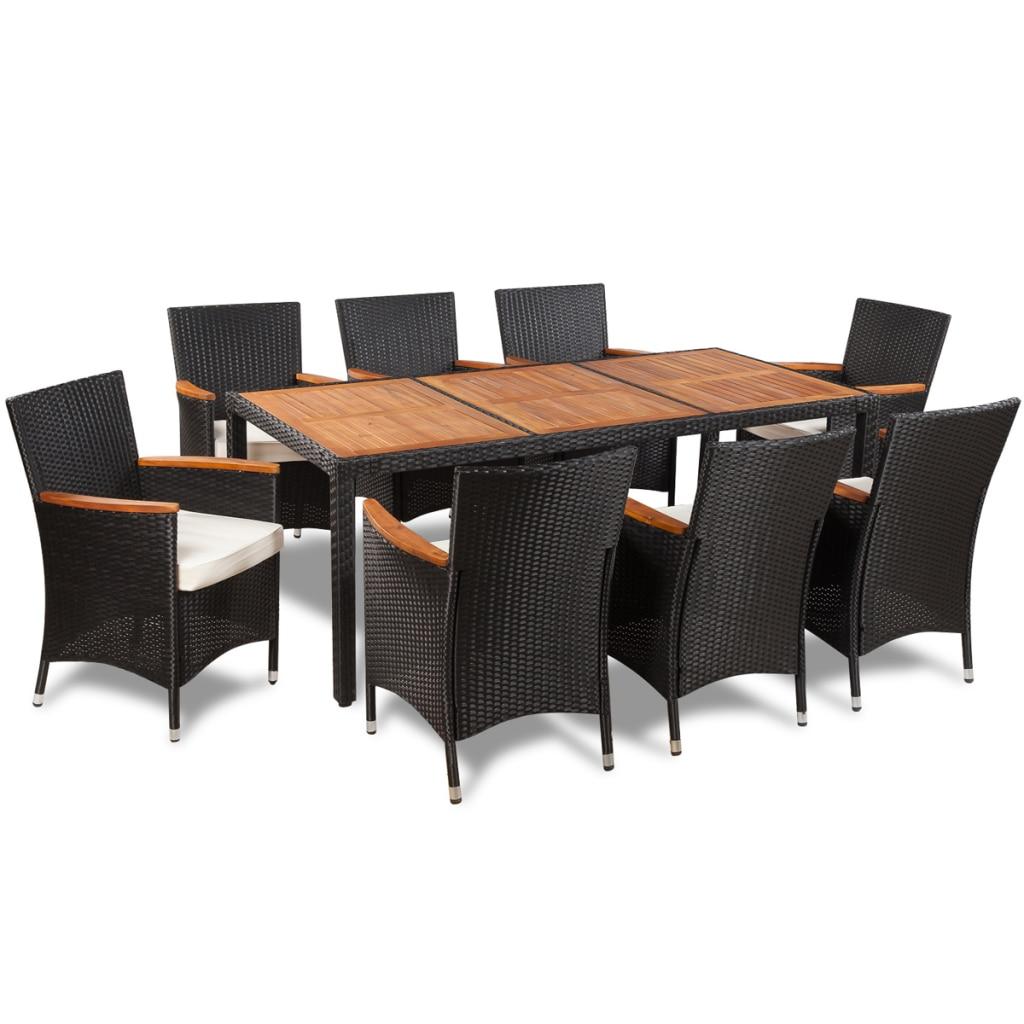 IKayaa mesa y 8 sillas de Patio Muebles De Jardín de ratán poli ...
