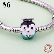 SG lovely animal enamel penguin wearing doctorial hat Charms 925 Silver Beads Fit Authentic pandora Bracelet diy Jewelry Gift