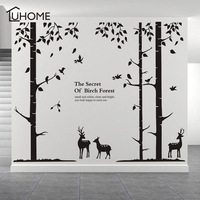 Large Tree Forest Deer Elk Wall Stickers Modern Decorations for Living Room Bedroom The Secret of The Birch Forest Home Decal
