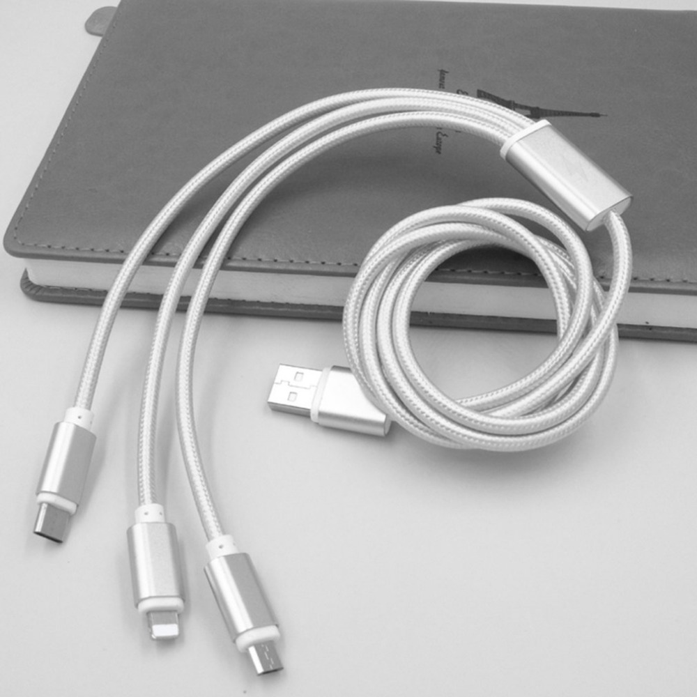 3 in 1 Micro Type C Lightning USB Charging Charger Cable For iPhone 8 7 X For Samsung S8 9+ Note 8 Android Phone