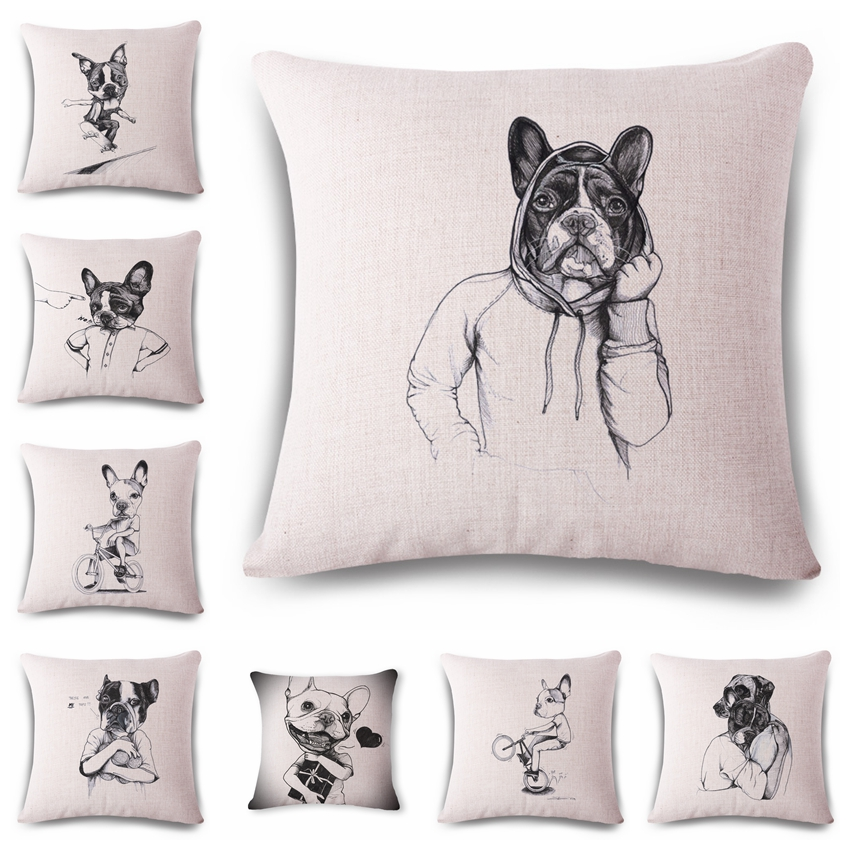 Cute aggressive hand-painted dog Cushion printed linen Family affection Sofa Car Seat family Home Decorative Throw Pillow