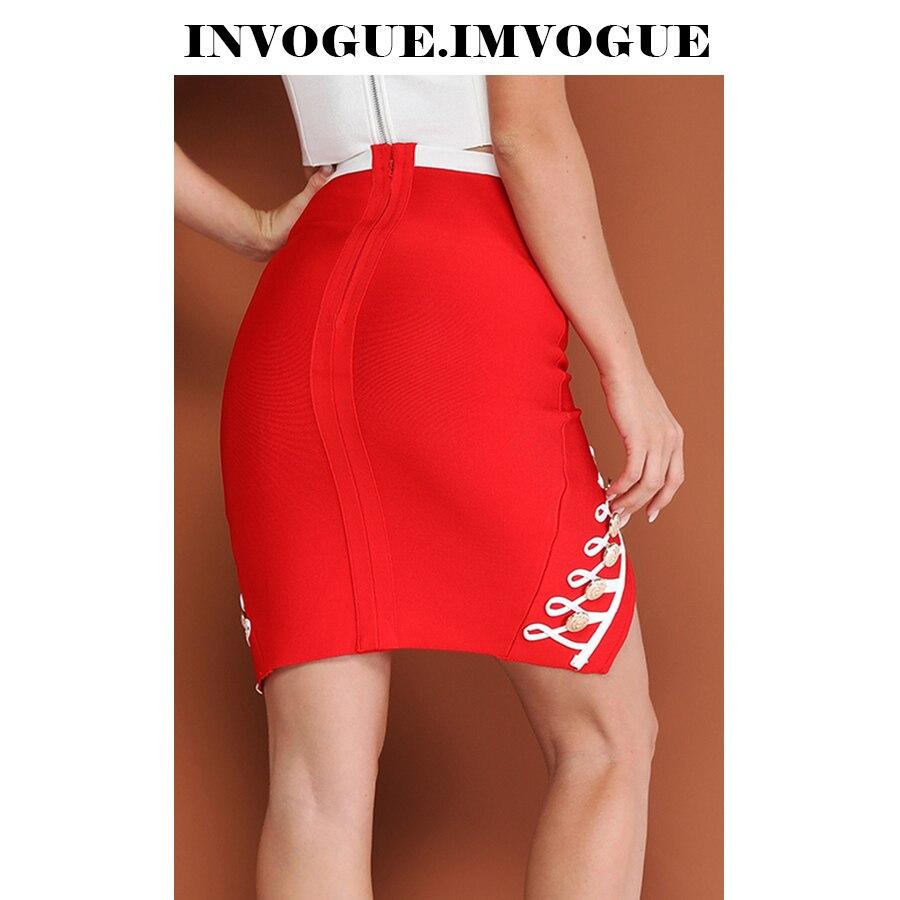 Bodycon 2018 Alta Color Negro Bloque rojo Botón Elegante Nueva Cintura Diseño Moda Falda Vendaje ¡invogue De Llegada Imvogue O5UqS
