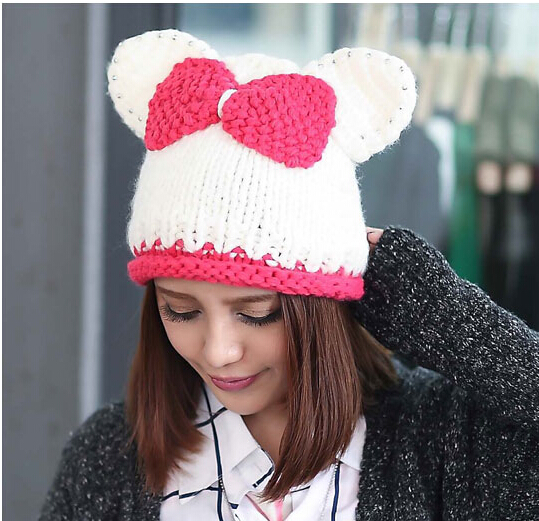 BomHCS Cute Cat Ear Contrast Color Bow Winter Women Knitted Hat Lady 100% Handmade Autumn Knitting Beanie Cap With Drill