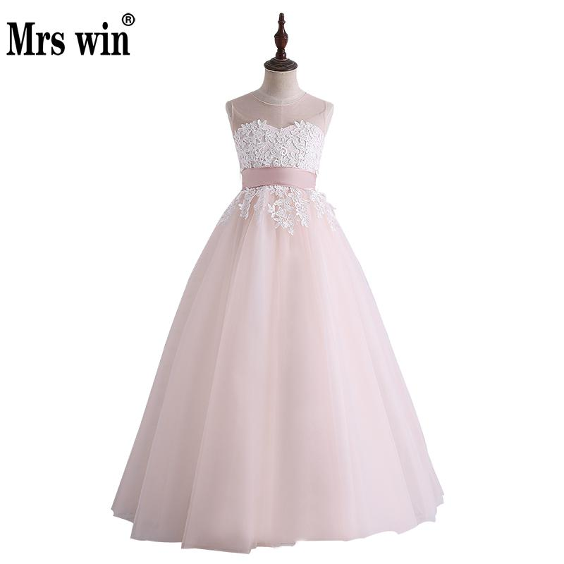 Flower     Girl     Dresses   2018 New Mrs Win Elegant O-neck Sleeveless Tulle Lace Applique Ball Gown Robe De Bal Enfant   Girl     Dresses   X