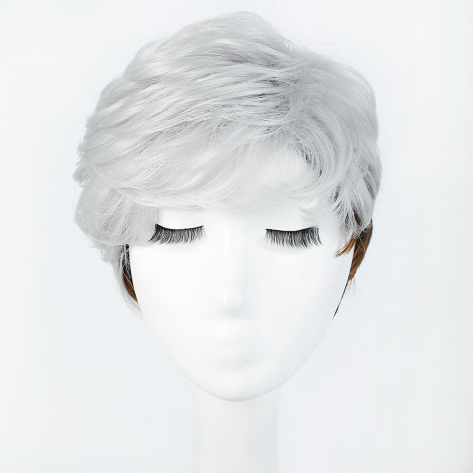 WTB Silver Brown Ombre Hair with Heat Resistant Cosplay Wig Short Straight Wigs for Women Synthetic wigs