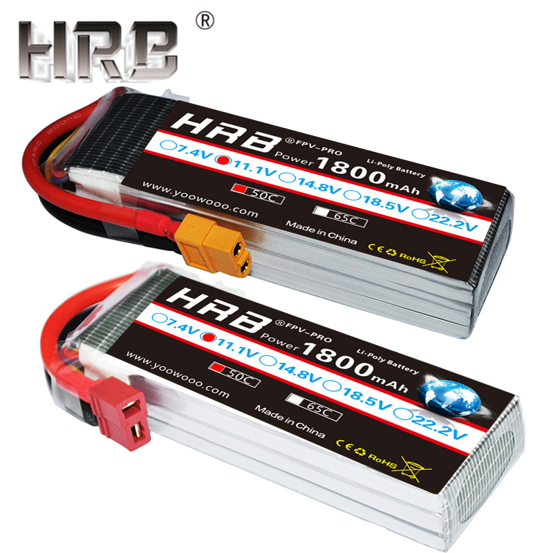 HRB <font><b>1800mAh</b></font> <font><b>2S</b></font> 3S <font><b>Lipo</b></font> Battery 7.4V 11.1V XT60 T Deans 50C 14.8V 18.5V 22.2V 4S 5S 6S 1S RC Parts For Mjx Bugs Airplane Boat Car image