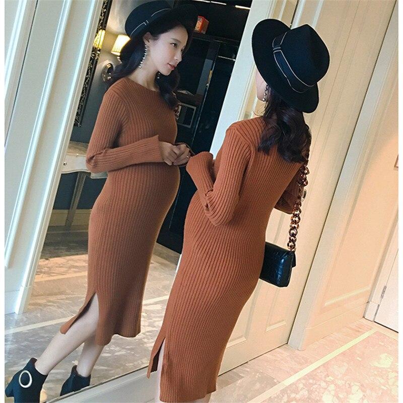 2017 для беременных женщин осень-зима вязать кедра платье для беременных женщин узкая юбка высокая эластичность ...
