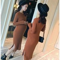 2017 Pregnant women fall winter knit cedar dress Pregnant women tight skirt high elasticity