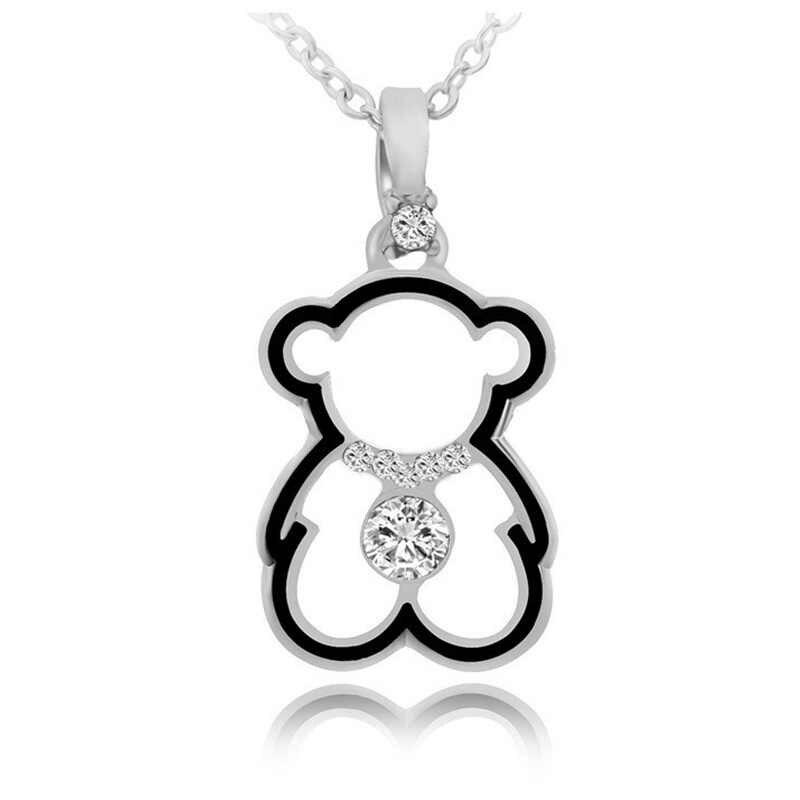 Модные Милые ожерелья медведь кулон для женщин золотой кубический цирконий ожерелье модное длинное женское ожерелье с подвеской 2019 медведь ювелирные изделия