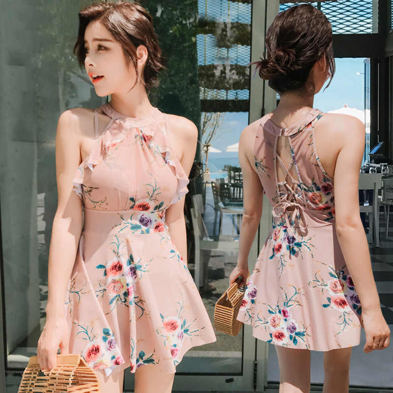 2019 New Arrival Sexy Women One Piece Swimsuit Print Vintage Swimwear Monokini Bath Suit Beach Wear Female One Piece Skirt