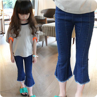 Fashion Kids Girls Cropped Jeans Pants Children Denim Capris Trousers Skinny Flare Leg Open Pants YH-17
