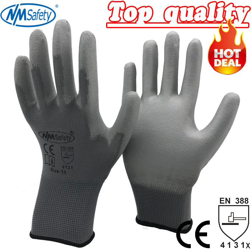 NMSafety 12 Pairs work gloves for PU palm coating safety glove  ...