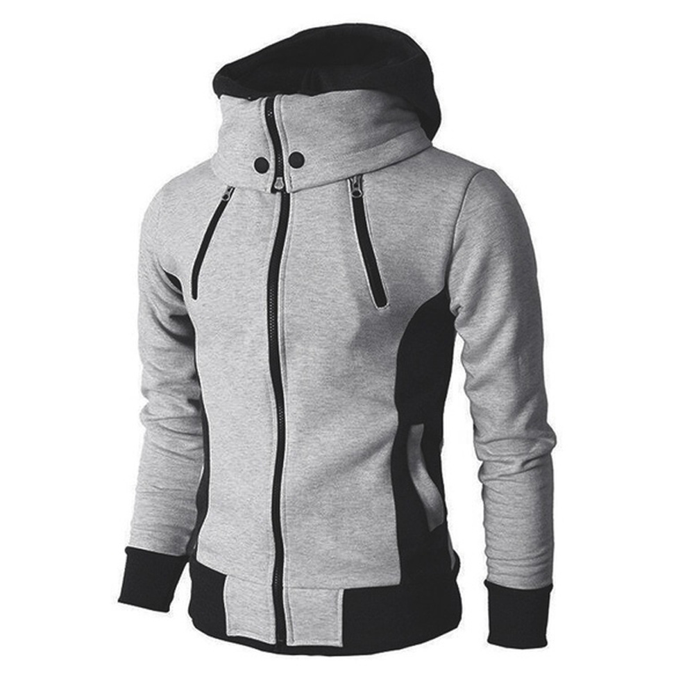 ZOGAA Plus Size XS-3XL Streetwear Men Hoodie Sweatshirts Solid Slim Fit Fake 2 Pieces Hooded Coat Men Zipper Jacket Hoodies