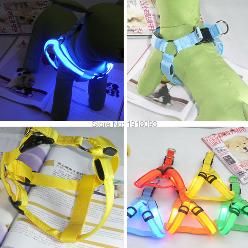 Newest LED Glowing Product 50pieces Wholesale LED Strip LED Dog Harnesses 7 colors Select Safety Dog at night