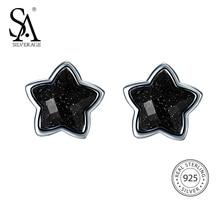Sa silverage 925 Silver Star Серьги-гвоздики для Для женщин Красивые ювелирные изделия черный Винтаж 925 стерлингов Серебряные серьги женские