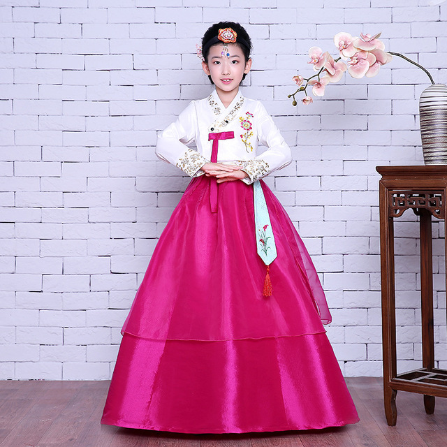 b8bea64ac Traditional Korean Clothing Children Ancient Costume S-XL Cosplay Hanbok  Dress National Baby Girls Dance Performance Clothes