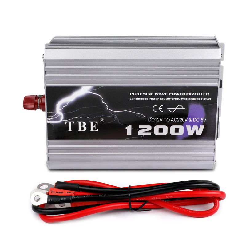 Onduleur de voiture 1200 W onde sinusoïdale Pure DC 12 V à AC 220 V 50Hz onduleur chargeur convertisseur puissance maximale 2400 W alimentation de véhicule - 5
