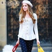 dabuwawa 2016 new tops square collar slim long sleeved ruffles fashion autumn winter white t shirt women plus size
