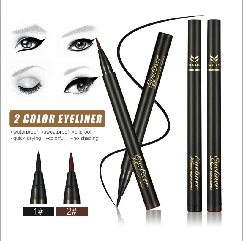 100 pcs Huamianli   Silky Soft Eyeliner Cool Black Fibers Quick Dry Eyeliner Pen Anti - perspiration Waterproof