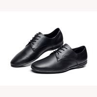 Men's Modern Latin Dance Shoes Flat Heel Salsa Shoes Rubber Sole Black Color Luxury Genuine Leather Customized by Hand 1657