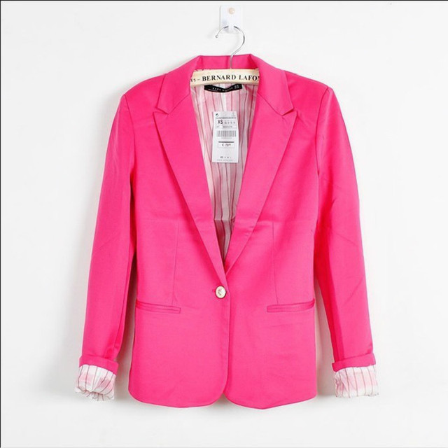 Hot Blazer Women New 2017 Candy Color Jackets Suit Slim yards Ladies Blazers Work Wear Jacket 2