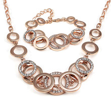 Fashion female Rose Gold color personality geometry jewellery sets For Women Bridal Wedding Circle Jewelry sets of african(China)