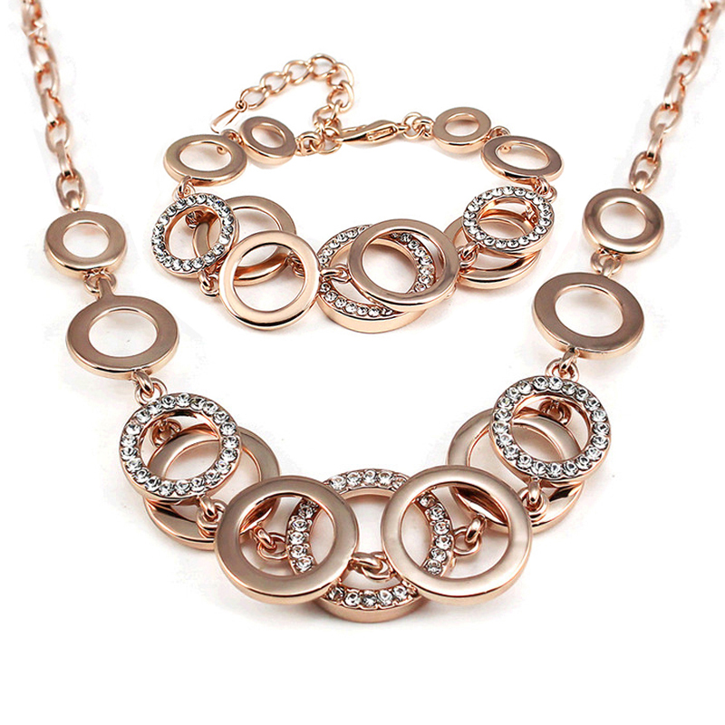 Fashion female Rose Gold color personality geometry ...