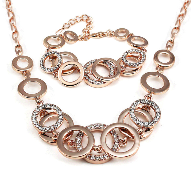 Fashion female Rose Gold color personality geometry jewellery sets For Women Bridal Wedding Circle Jewelry sets of african