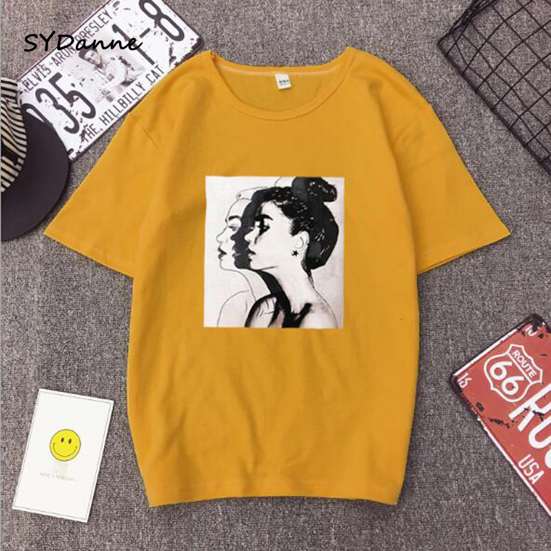 SYDanne New Fashion T-shirt Woman Spring Summer Girls Print Short Sleeve Neck Cotton Spandex Women Top Slim Fit Soft Clothes