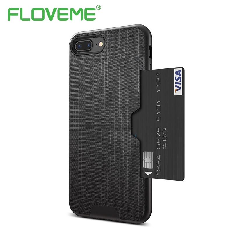 Luxury Card Slot Back Cover For iPhone 6 6S 7 Plus Phone Case Slim Hybrid Credit Card Armor Cover Case For iPhone 7 6 6S Plus visa