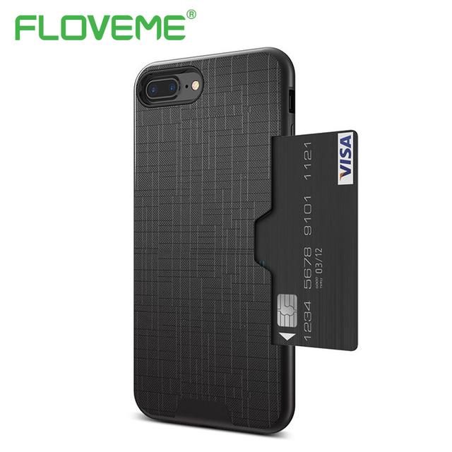 low priced f3fdd 6781c US $3.49 30% OFF|FLOVEME Luxury Card Slot Cover For iPhone X XS Max XR 6 6S  7 8 Plus Phone Case Hybrid Credit Card Armor Case For iPhone 8 7 Plus-in ...