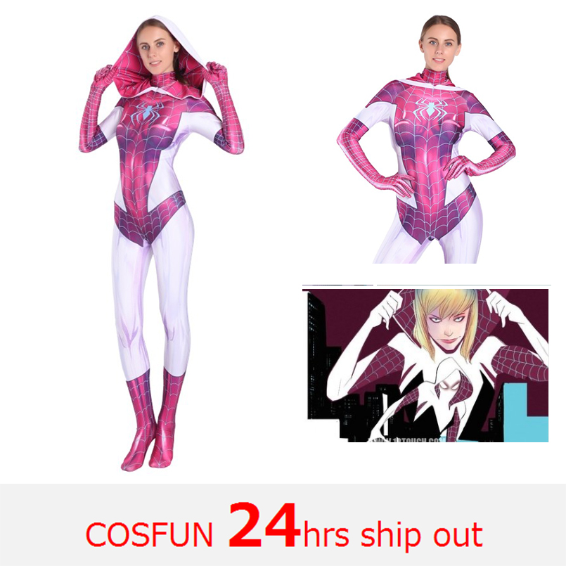 Women Spider-Gwen Cosplay Costumes Spandex White Red Hoodies with Headgear Costumes Suitable for Halloween 24 Hrs Shipped Out