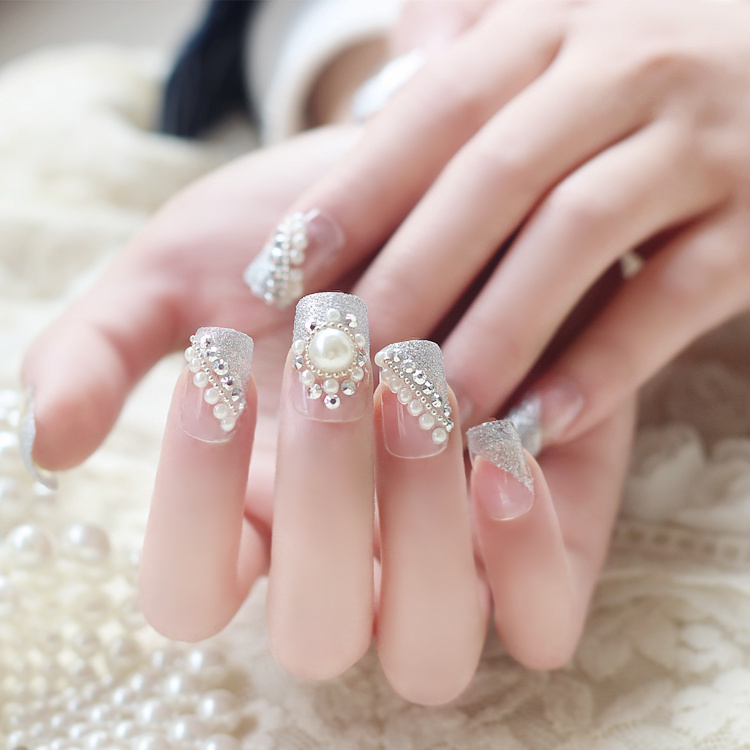 New 24 pieces Elegant Pearl Lady 3D Diamond Fashion Sex Style Plastic Art Short Fake false Sticker Nails Tips With Glue [N548] image