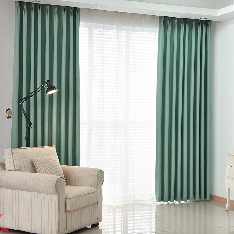 2 pieces solid color faux linen blackout curtains for