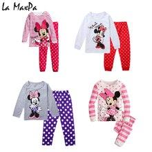 Купить с кэшбэком 2018 spring fall new Minnie Cartoon Mouse Baby Toddlers Kids Girls Nightwear Pajamas Set Sleepwear Homewear Clothing Suit 1-8Y