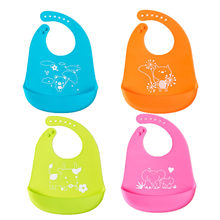 Newly Soft Silicone Baby Bibs Waterproof Baby Feeding Overalls Newbron Infant Cartoon Bib Baby Care Feeding Apron(China)