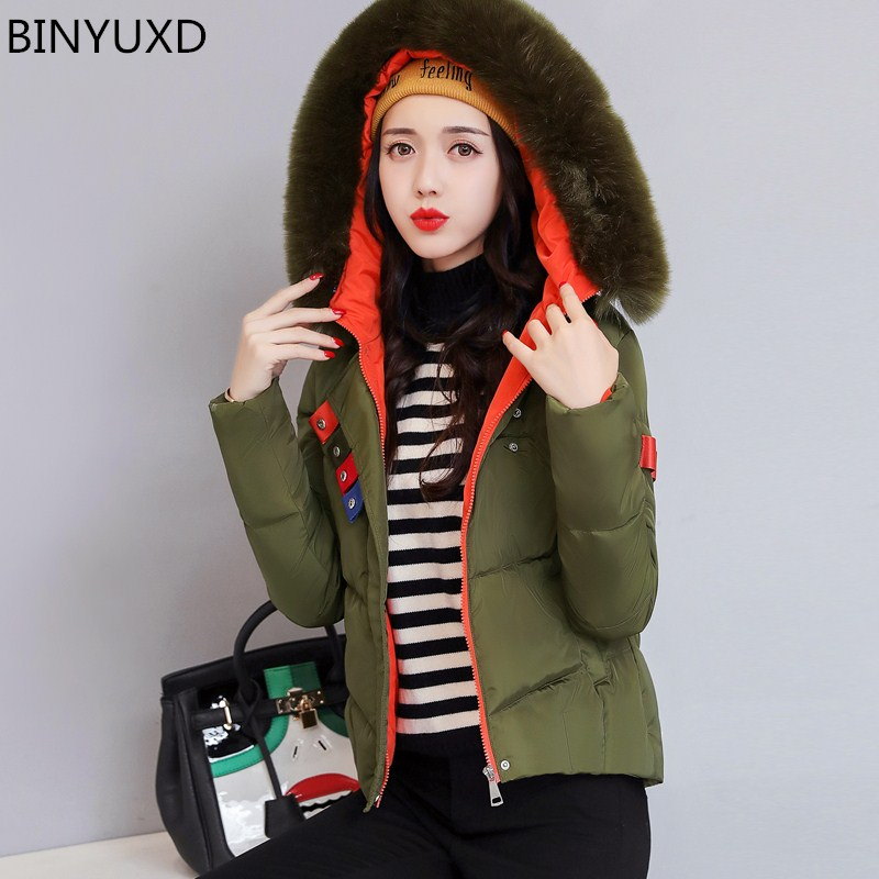 BINYUXD Women Warm Winter Jacket 2017 Fashion Women Hooded Fur collar Down Cotton Coat Solid color Slim Large size Female Coat the new motorcycle bike 2006 2007 2008 2009 2010 2011 kawasaki zx 10r zx10r zx 10r knife brake clutch levers cnc