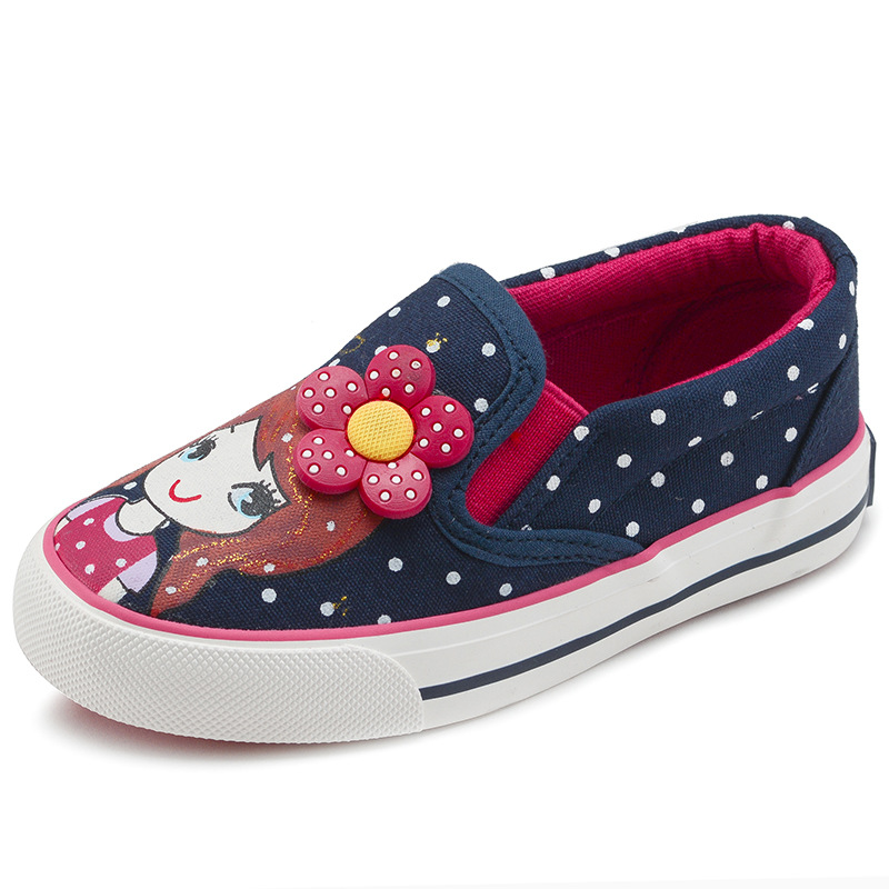 أحذية الأطفال أحذية الفتيات قماش 2017 الخريف الكرتون البولكا نقطة أزياء الأميرة مريحة الانزلاق على عارضة أحذية أطفال رياضة