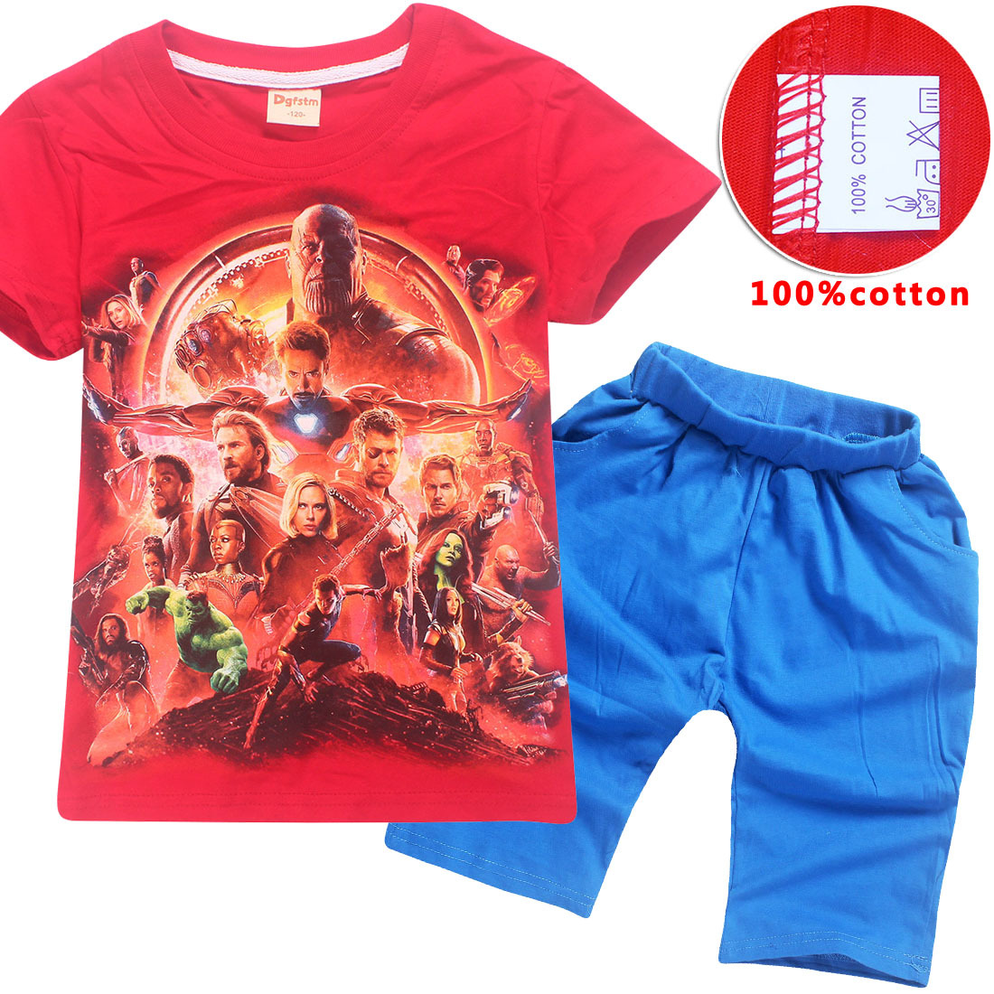 Kids Summer T shirt Pants Avengers: Infinity War Boys Girls Cartoon t-shirt+shorts Children's Clothing Set Halloween Costume