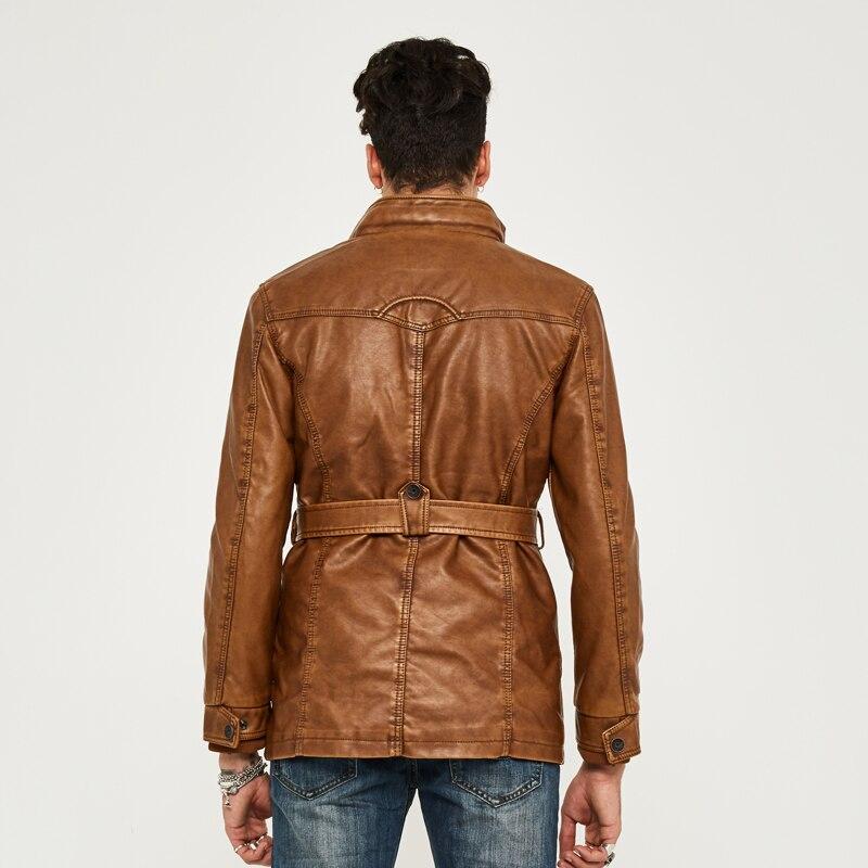 HEE GRAND cuir synthétique polyuréthane pour hommes veste moyen-Long Style nouveauté mode Faux cuir décontracté moto Stand mode manteau MWP218 - 6