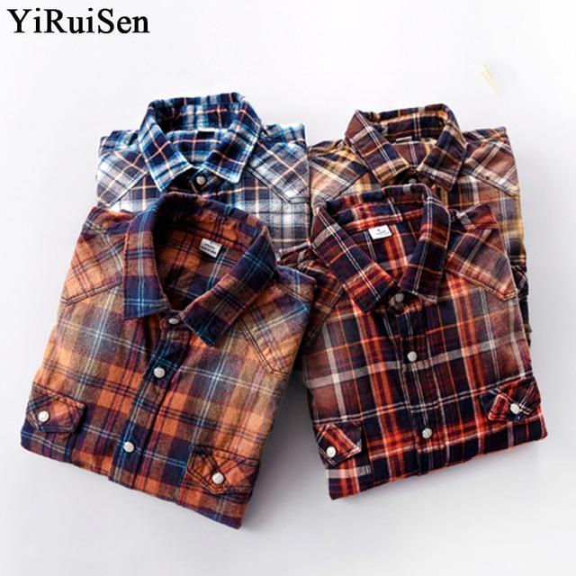 YIRUISEN 2017 Autumn New 100% Cotton Plaid Long Sleeve Shirt Men Casual Shirts Brand Clothing Plus Size M-3XL #e002