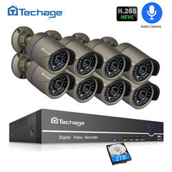 H.265 POE CCTV Security System 8CH 1080P NVR Audio Record 2MP Outdoor PoE IP Camera IR Night P2P Video Surveillance Kit 2TB HDD